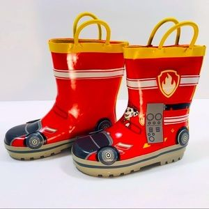 Paw Patrol Fireman Rain Boots Size 9/10 Toddler